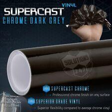 "Black Grey Supercast Flex Stretch Mirror Chrome Vinyl Wrap - 60"" x 120"" Inch"