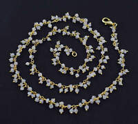 Beautiful 3mm White Moonstone Faceted Rosary Style Dangle Chain Necklace Jewelry
