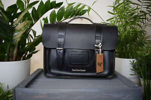 """Dr MARTENS 13"""" inch Black Kiev Smooth Leather Satchel Bag Yellow Stitching RARE"""
