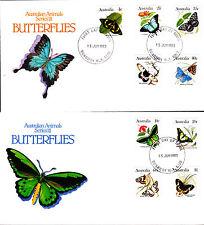 1983 Australian Animal Series Iii Butterflies on 2 Fdc's - Bunbury Wa 6230 Pmk