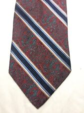 JOS A BANK MENS TIE 3.75 X 60 RED AND GRAY WITH BLUE AND BEIGE STRIPES