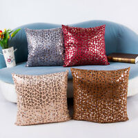 Leopard Point Plush Bronzing Sofa Throw Cushion Cover Pillow Case 45*45cm