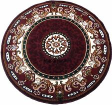 Contemporary Carpet 7x7 Area Rug Round  Burgundy Off White Dining Room Floral