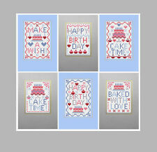 CAKE TIME BIRTHDAY 6 COUNTED CROSS STITCH Riverdrift House GREETINGS CARDS KIT