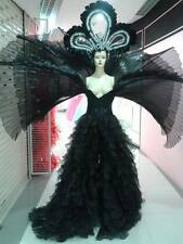 Black Corset style 3 Layers Pleated Wing Ruffle Long Dress Drag Queen Show Girl