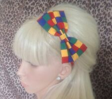 "BRIGHT MULTICOLOUR CHECK COTTON FABRIC 5"" SIDE BOW ALICE HAIR HEAD BAND NOVELTY"