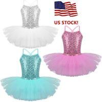 Girls Sequins Ballet Tutu Dress Kids Dance Leotard Ballerina Dancewear Costume