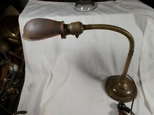 Antique Brass weighted base flexible arm table desk Industrial lamp Metal Shade