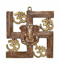 Wall Hanging Of Lord Ganesha On Swastik With Om Showpiece - 22.86 cm (Original A