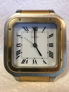Original Cartier Paris Quartz Desk Alarm Clock Swiss Made.