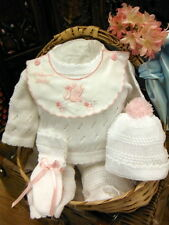 NWT Will'beth White Pink Knit 4p Pant Set Preemie Welcome Baby Girls Hat Booties