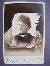 Vintage Memorial Cabinet Card Photo Victorian Woman by A. J. Feay Evansville, IN