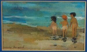 Charming Vintage Miniature Gouache Painting 3 Little Kids on Beach w Tanlines