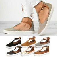 Women T-Bar Ankle Strap Sandals Ladies Summer Beach Closed Toe Flat Shoes Brown