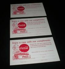 """RARE COCA COLA COUPONS """"ENJOY A CASE WITH OUR COMPLIMENTS""""  3 COCA COLA UNUSED"""