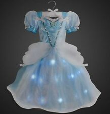 NWT Disney Store Light Up Cinderella Costume Blue Gown Dress Girls 5/6