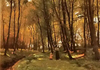 Oil painting Edvard Frederik Petersen - a walk in the woods landscape on canvas