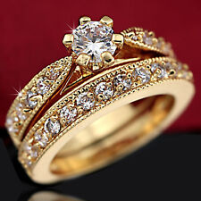 9K 9CT GOLD GF R23 ANNIVERSARY WEDDING SIMULATED DIAMOND WOMENS SOLID RINGS SETS