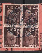 ITALIA REPUBBLICA 1945-46 serie DEMOCRATICA - 2 lire usato - QUARTINA