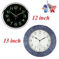 "12/13 ""Wall Clock Silent Quartz Thermometer Clock Waterproof Indoor/Outdoor USA"