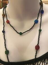 Long Bead Necklace Beautiful Blue And   Amber Coloured Beads POP That Outfit Fab