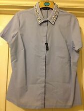 Ladies sz 18 M&S Collection Beautiful Chambray Blue Shirt with Gems No Peep BNWT