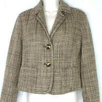 Talbots Blazer Jacket Women Size 4 Brown Acrylic Wool Lined Career Long Sleeve