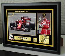 "Sebastian Vettel F1 Ferrari 2017 Monoco GP Framed Canvas Print Signed ""Gift"""