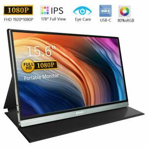 "Portable Monitor Corprit 15.6"" USB Type-C/HDMI/DP 1920*1080 IPS Display Screen"