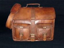 """16"""" Men's Genuine Vintage Leather Messenger Bag Shoulder Laptop Bag Briefcase"""