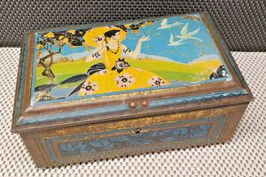 Antique Box Metal Iron Art Deco Woman - Wearing Negligee Yellow Umbrella Birds