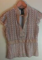 Kenneth Cole Womans Sz 4 Velvet Short Sleeve V Neck Pullover Top Shirt