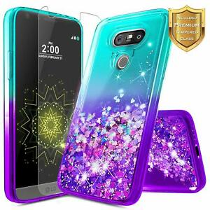 For LG V20 Case Liquid Glitter Bling Cute Phone Cover + Tempered Glass Protector