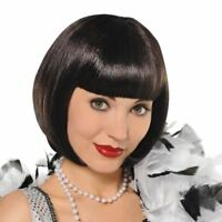Womens 1920s Black Flapper Wig Fancy Dress Accessory