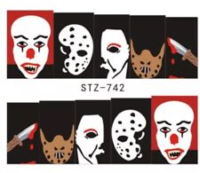 Horror Film nail art Water Decals Jason, chucky, Michael Myers, Pennywise Wraps