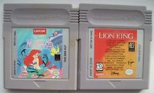 Disney's Little Mermaid  & Lion King Nintendo Game Boy Games plays Color GBA SP