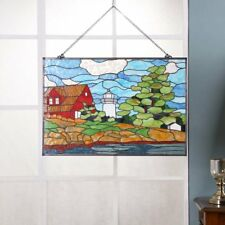 Bieye W10010 30 inches Lighthouse Tiffany Style Stained Glass Window Hangings