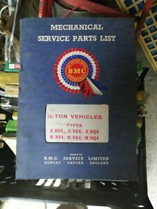 BMC Mechanical Service Parts List No AKD 3409