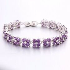 "Round Purple Amethyst Tennis Bracelet 7.9"" White Gold Filled Flower Shape Chain"