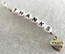 Clip on charm - 'THANKS' + 'thank you' heart
