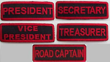(5 ) SET MOTORCYCLE CLUB RANK  RED ON BLACK EMBROIDERED IRON ON PATCHES