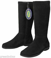 Dexter Manor Ladies Black Suede Kidskin Tall Boots  Size 8 M