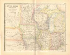 1874 ca LARGE ANTIQUE MAP- SWANSTON -USA- NORTH CENTRAL SECTION