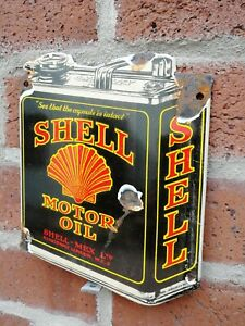 Shell enamel sign shell oil can enamel sign garage oil petrol gas small oil can