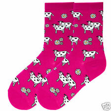K.Bell White Black Cows and Daisys Hot Pink Ladies Crew Cotton Blend Socks New
