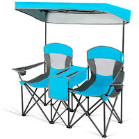 Portable Folding Camping Canopy Chairs Double Sunshade Chair w/Cup Holder Blue