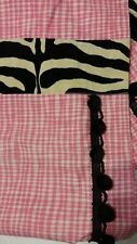 "Pink & White Checkered Curtain 2 Panels Zebra Trim Black Pom Trim 52""x 88"" Lined"