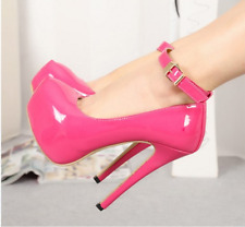 Women Ankle Buckle High Heels Stiletto Platform Pumps Patent Leather Party Shoes