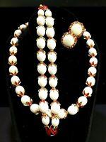 Vtg Cr Trifari Parure Enamel Bead Caps White Beads Necklace Bracelet Earring SET