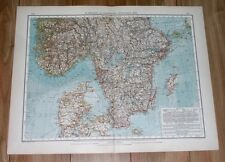 1907 ORIGINAL ANTIQUE MAP OF SOUTHERN SWEDEN AND NORWAY / DENMARK BALTIC